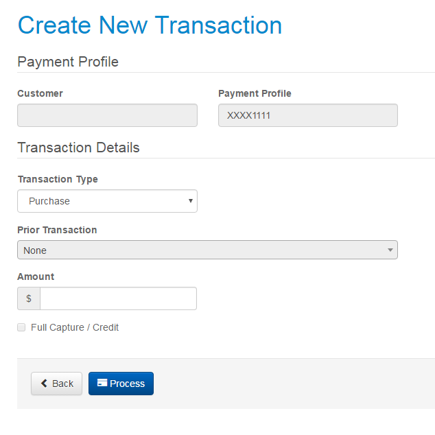 Create transaction page