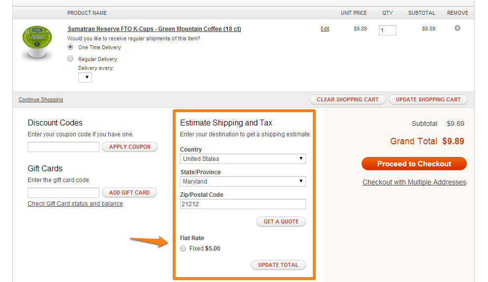 Estimate Shipping Rates in Magento