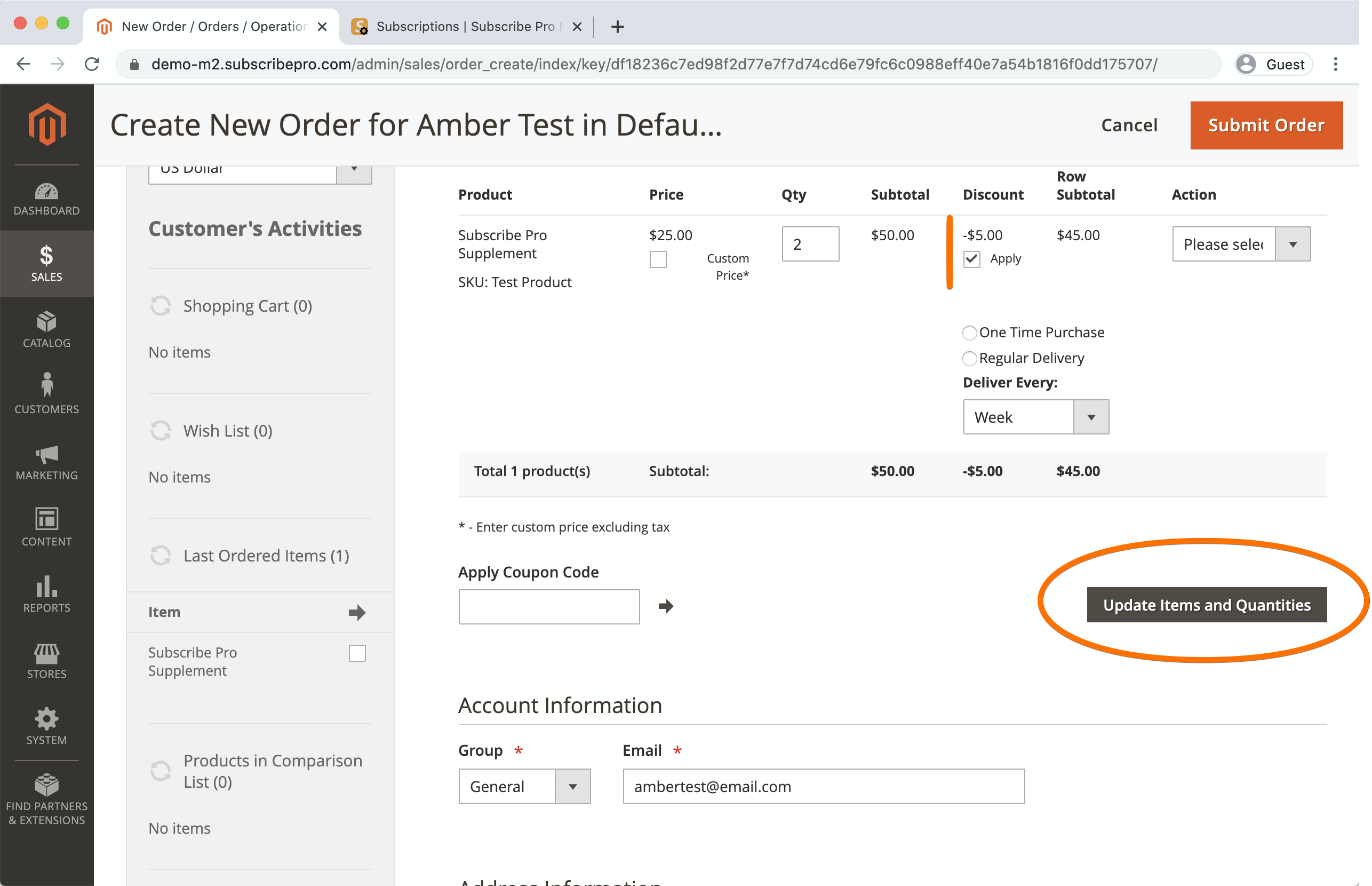 Magento 2 entering address