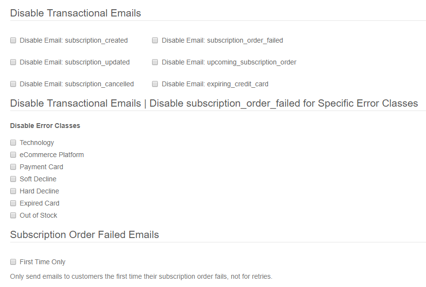 Subscription Failure Type Emails